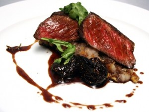 Recipe: Seared Rib Eye with Crushed Walnut Potatoes, Baby Arugula, Balsamic Fig Reduction
