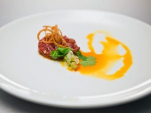Recipe: Lamb Tartare with Rambutan Ceviche & Curry Oil