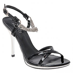Suber Synthetic Black Patent Sandal