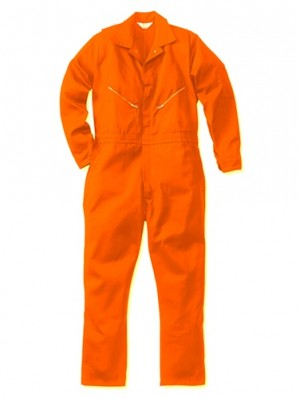 Blaze Orange Long Sleeve Cotton Jumpsuit